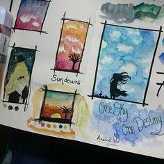 Day 7 - Sky. Some practice because i NEVER draw or paint skies.  Día 7 - Cielo. Un poco de práctica, porque NUNCA dibujo o pinto cielos.  #artnestoltesllotja #artnestoltes #paint #draw #sketch #concept #practice #watercolor #color #sky #sundown #twilight #clouds #colorful #masterpiece #ink #traditionalart #abstraction #doodle #painting