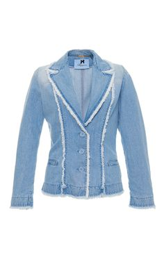 This **Blumarine** jacket features a notch collar, fringe details, and a fitted…