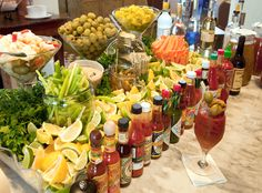 Now THIS is a bloody mary bar! Great brunch/party idea -- a Bloody Mary bar! Serve a variety of hot sauces, horseradish, olives, celery, etc. Bloody Mary Bar, Bloody Mary Recipe For A Crowd, Bar Drinks, Yummy Drinks, Beverages, Drink Bar, Beverage Bars, Beverage Stations, Food Stations