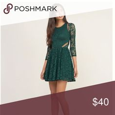 Abercrombie & Fitch - Lace Mesh Dress - Emerald green,  lace mesh skater dress - Worn once. Perfect condition.  - Zipper on the left side of torso for easy access. - Accepting offers <3 (I would prefer Ⓜ️ercari purchases if possible :) Abercrombie & Fitch Dresses