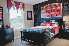 Boy's sports-themed bedroom with scoreboard and chalkboard wall!