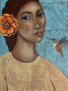Hummingbird & Flower Portrait Mixed Media Folk Art Original Painting by Tamara Adams Paper, Acrylic Paint, Molding paste, Kroma Crackle Hummingbird Flowers, Africa Art, Mexican Folk Art, Naive Art, Flowers Nature, Female Art, Art Pictures, Original Paintings, Original Art