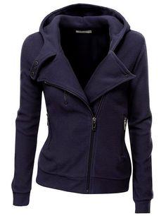Cozy Fleece Zip Up Navy #Jacket