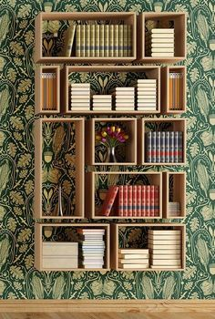 Pretty bookshelves that you can make by yourself. DIY bookshelves that will decorate your home and will give you some storage space where you can store all your books. Cool Bookshelves, Bookshelf Design, Bookshelf Ideas, Bookshelf Styling, Simple Bookshelf, Bookcase Decorating, Open Bookcase, Homemade Bookshelves, Diy Bookshelf Wall