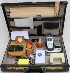 "Office Set - find an old suitcase and ""work"" items for fun pretend play!!"