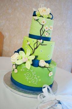 Wedding Cake #Blue + #Lime #Green #Spring #Wedding … Wedding #ideas for brides, grooms, parents & planners https://itunes.apple.com/us/app/the-gold-wedding-planner/id498112599?ls=1=8 … plus how to organise an entire wedding, within ANY budget ♥ The Gold Wedding Planner iPhone #App ♥ For more inspiration http://pinterest.com/groomsandbrides/boards/ #blue #lime #green #ceremony #reception