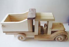 Natural Wood HandCrafted Dump Truck Toy For by SandJPaperandWood, $65.00