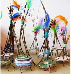 Mini woven teepees made by children
