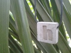 Concrete Jewelry   Natural gray with etched letter by ConcreteRing