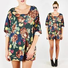 vtg 90s grunge FLORAL print SLOUCHY OVERSIZED tunic shirt blouse top S/M/L/XL $28.00