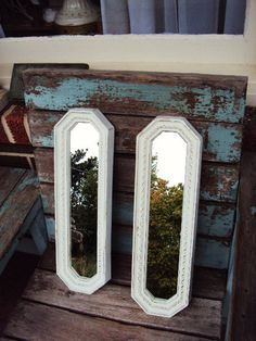Vintage Shabby Chic Mirror Set Baroque by primitivepincushion