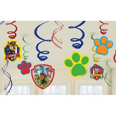 Hang these Paw Patrol swirl decorations all over your party for another level of decoration. The paw prints hang on blue, red, and green foil swirls and bounce with fun. 4th Birthday Parties, Birthday Party Decorations, 2nd Birthday, Birthday Ideas, Kid Parties, Fete Laurent, Paw Patrol Party Supplies, Paw Patrol Birthday Theme, Paw Patrol Decorations