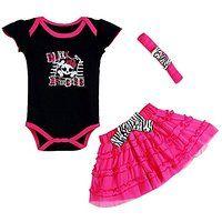 Baby Girl's Punk Princess CrossBones Summer 3pc Set