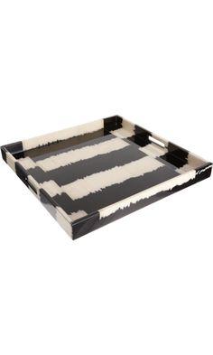 Madeline Weinrib Black Stripe Ikat Large Tray