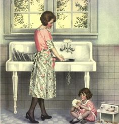 Doing the dishes--1920's. I have this sink in my basement! I would love to move it in my kitchen.