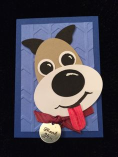 ATC Punch Art Pooch--used Stampin' Up's wonderful collection of punches to make this Artist Trading Card. The background is done with the SU Arrows embossing folder. by Beverly Stewart, aka ruby-heartedmom.