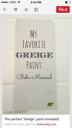 It's Behr Mineral. I've tried so many different beiges and grays, and this is handsdown my fave. I had it mixed in Glidden (just because it's cheaper). Here's a pic of the exact spe(Best Paint Greige) Griege Paint Colors, Best Greige Paint Color, Wall Colors, House Colors, Best Interior Paint, Interior Paint Colors, Paint Colors For Home, Interior Painting, Interior Design