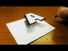 """Very Easy!! How To Drawing 3D Floating Letter """"A"""" - Trick Art on Line Paper for kids - YouTube"""