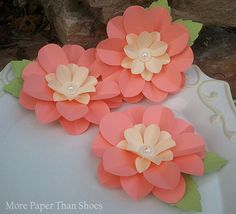 Handmade Paper Flowers - Wedding Decorations - X-Large  - Full Bloom Flowers  - Set of 3 - Ready To Ship