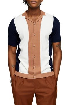 Men's Topman Classic Fit Colorblock Short Sleeve Cardigan, Size X-Large - White Golf Fashion, 1950s Fashion, Mens Fashion, Men's Shirts, Work Shirts, Retro Bowling Shirts, Rockabilly Shirts, African Shirts, 1950s Style