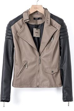 2013 Autumn & Winter New Section Contrast Color PU Short Biker Jacket