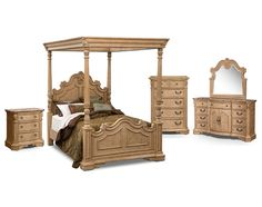 Lafayette Almond Canopy Bedroom Collection | Furniture.com