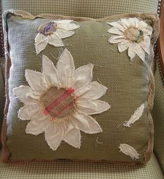 Reclaimed Feed Seed Coffee Sack Pillow Floral Daisy