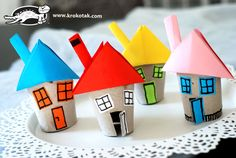 Little houses from toilet paper rolls