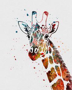 dessin aquarelle girafe