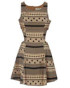 Beige Tribal Print Cut Out Detail Skater Dress