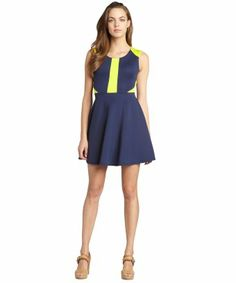 style #329340501 navy blue and fluorescent yellow flared skirt dress