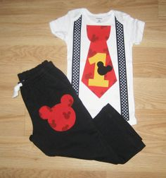 Mickey mouse 1st birthday outfit Boys cake smash outfit Mickey onesie with suspenders and pants set Baby boy  first birthday party outfit
