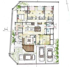 House Layout Plans, House Layouts, House Plans, Landscape Architecture Drawing, Architecture Plan, Japan House Design, Architectural Floor Plans, Plan Sketch, Eco Friendly House