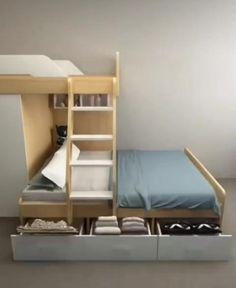 Small Room Design Bedroom, Small House Interior Design, Kids Bedroom Designs, Home Room Design, Room Decor Bedroom, Bunk Beds For Girls Room, Bunk Beds Small Room, Modern Bunk Beds, Bed Furniture