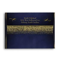 Elegant Blue and Gold Glitter Wedding Envelopes