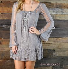 Laced With Style Taupe Lace Dress || Amazing Lace