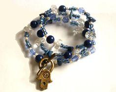 Wrap Hamsa Bracelet Blue Hamsa Fatima Hand by GrandmasDowry