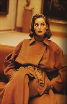 Camel perfection. Christy wearing Michael Kors. Harpers Bazaar September 1992.