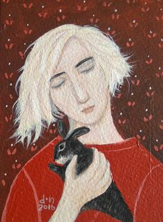 Girl with rabbit by Dee Nickerson