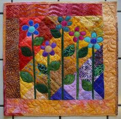 art quilts with batiks | Mini Art Quilt Top WHIMSICAL SPRING FLING FLOWERS #2 Batik Fabric NEW ...
