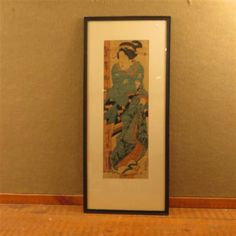 Geisha in Blue Kimono Watercolor on Paper Painting