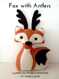 stuffed fox with antlers free pattern @sappling a bit of something different