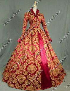 Victorian Tudor Jacquard Brocade Period Dress Ball Gown Reenactment Theatre Clothing PUNK