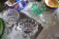 Glass and ceramic flower tutorial. Use three pieces: dinner plate, bowl and candle votive.