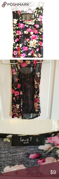 Rose Racerback Tank Racerback tank with beautiful roses. See through mesh lining on back. This would look great with a black bralette underneath. Worn only once but there is some pilling of fabric on the front. Hard to see unless up close. Tops Tank Tops