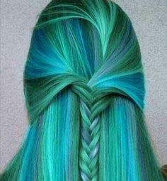**Awesome!--I chose this photo because its an excellent example of the analogous colors of blue,blue-green and green.Through the repletion of the colors and the pattern of brain and formation of the top of the braid there is great harmony in this hair do/dye job. There is a great balance of blues and greens and blue-greens and they are exciting yet calming colors with a twist.