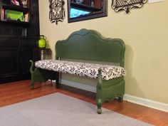 Antique full-size bed frame converted to a bench.