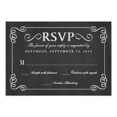 Elegant Rustic Chalkboard Wedding RSVP Card