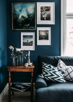 We love these midnight blue calls, accented with bold white frames and rustic copper pieces
