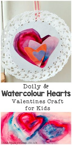 Doily and watercolor love heart valentines craft for kids. So simple and fun to make Valentine Crafts For Kids, Valentines Day Activities, Valentines Diy, Happy Valentines Day, Holiday Crafts, Holiday Ideas, Lion Kids Crafts, Valentine's Day Crafts For Kids, Crafts To Make